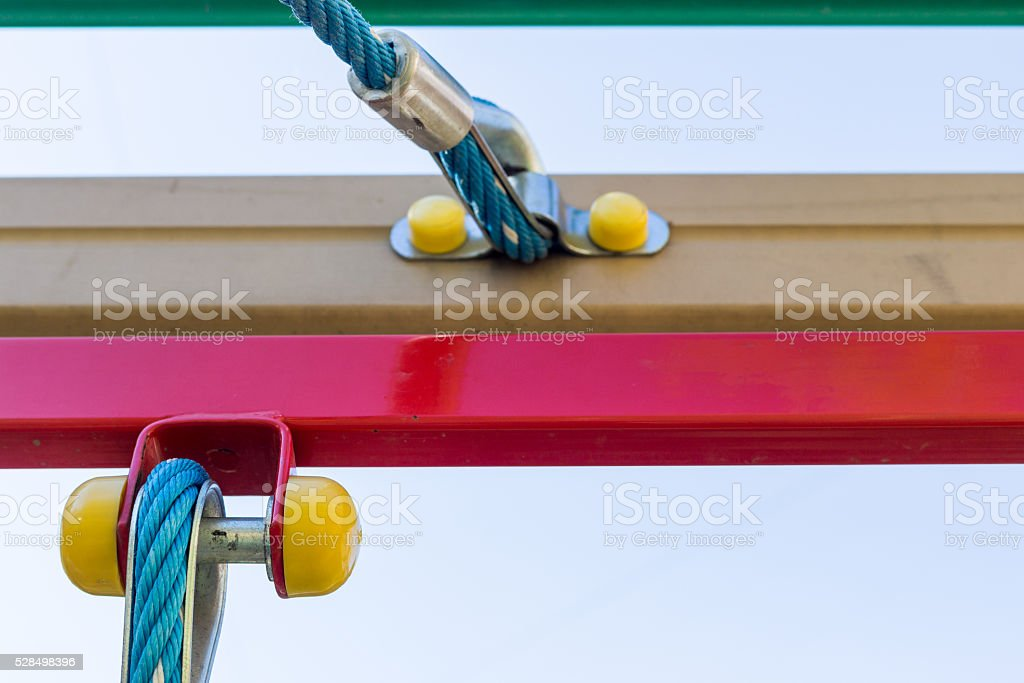 Rope with joints in the playground. Closeup. stock photo