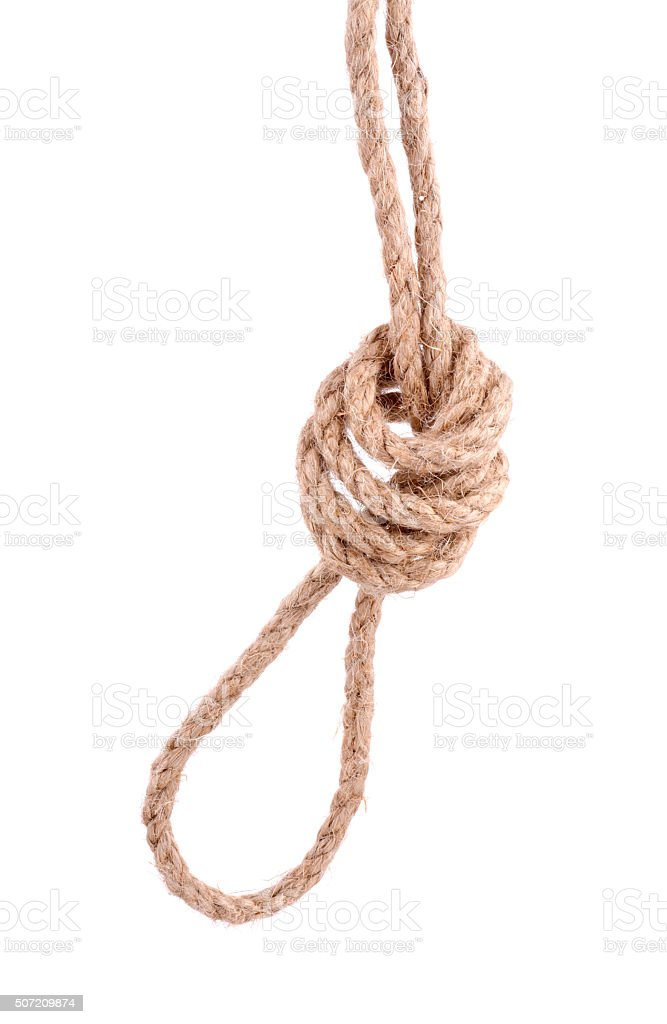 Rope with Knot on white stock photo