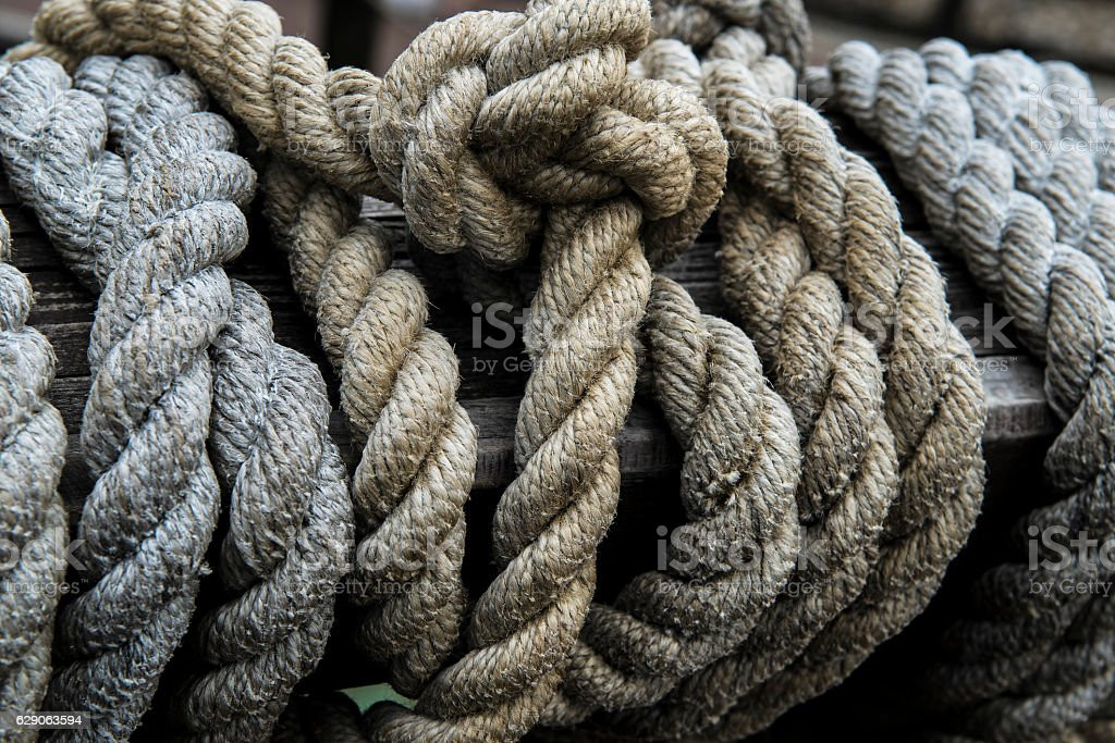Rope wooden boat stock photo