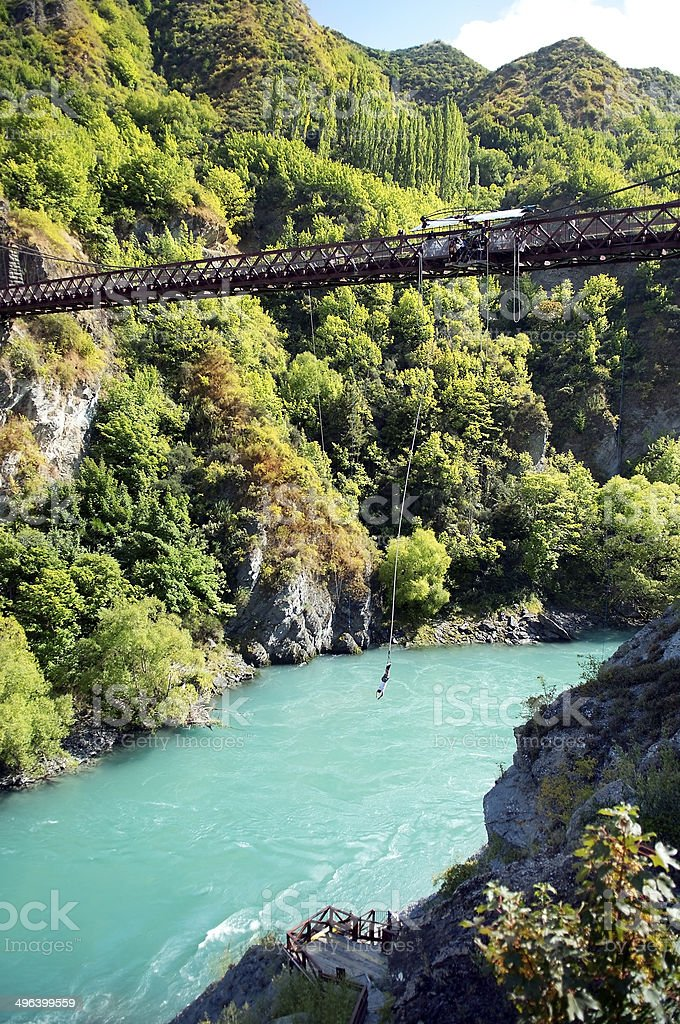 ropejumping in the mountains of New Zealand stock photo