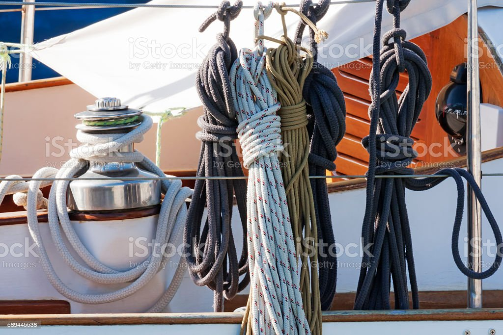 Ropes and accessories in a sailboat stock photo