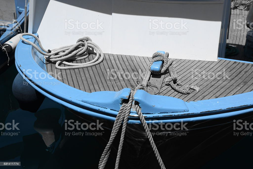 Ropes and nets on a boat stock photo