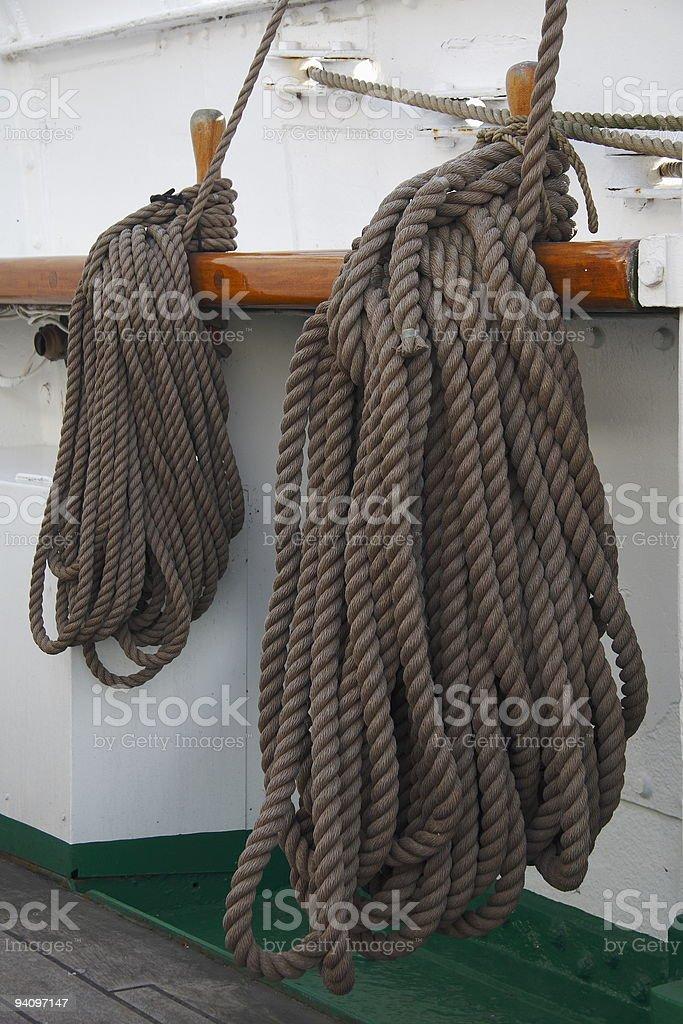Ropes at a historic sailing ship stock photo