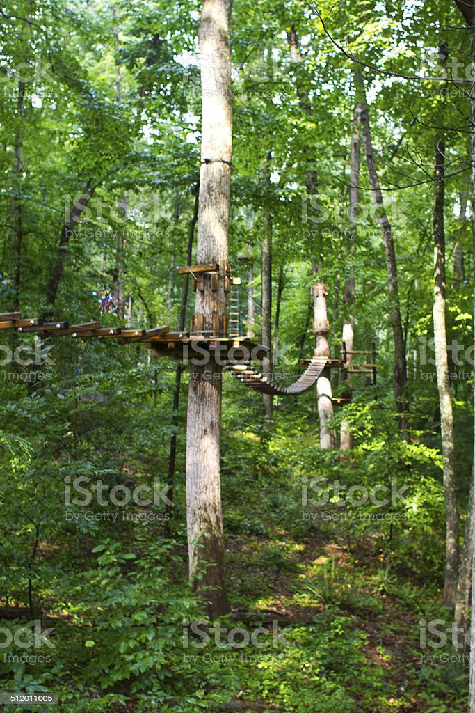 Ropes Course in the Woods stock photo