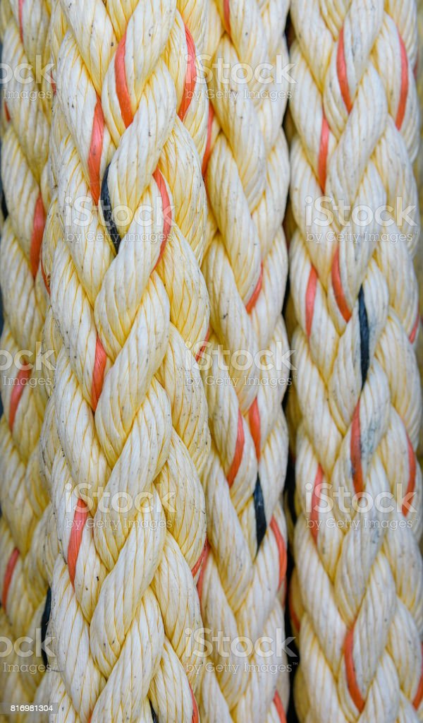 Ropes for sailboat. Texture, background stock photo