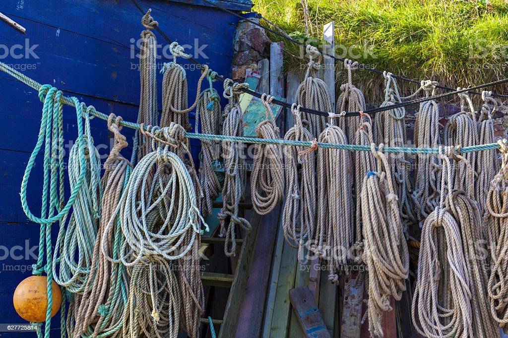 Ropes hanging drying at fishermen St. Abbs village, Scotland stock photo