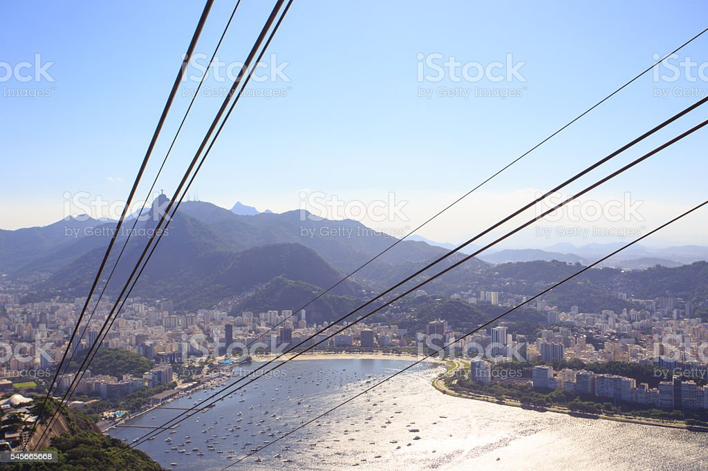 ropes of cable car at Sugar Loaf station stock photo