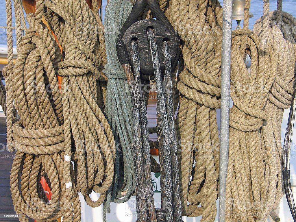 Ropes on a sail boat royalty-free stock photo