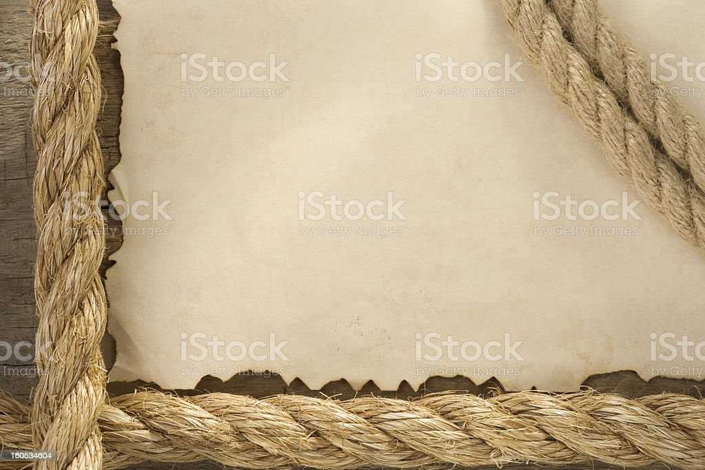 ropes on old vintage ancient paper backgroun royalty-free stock photo