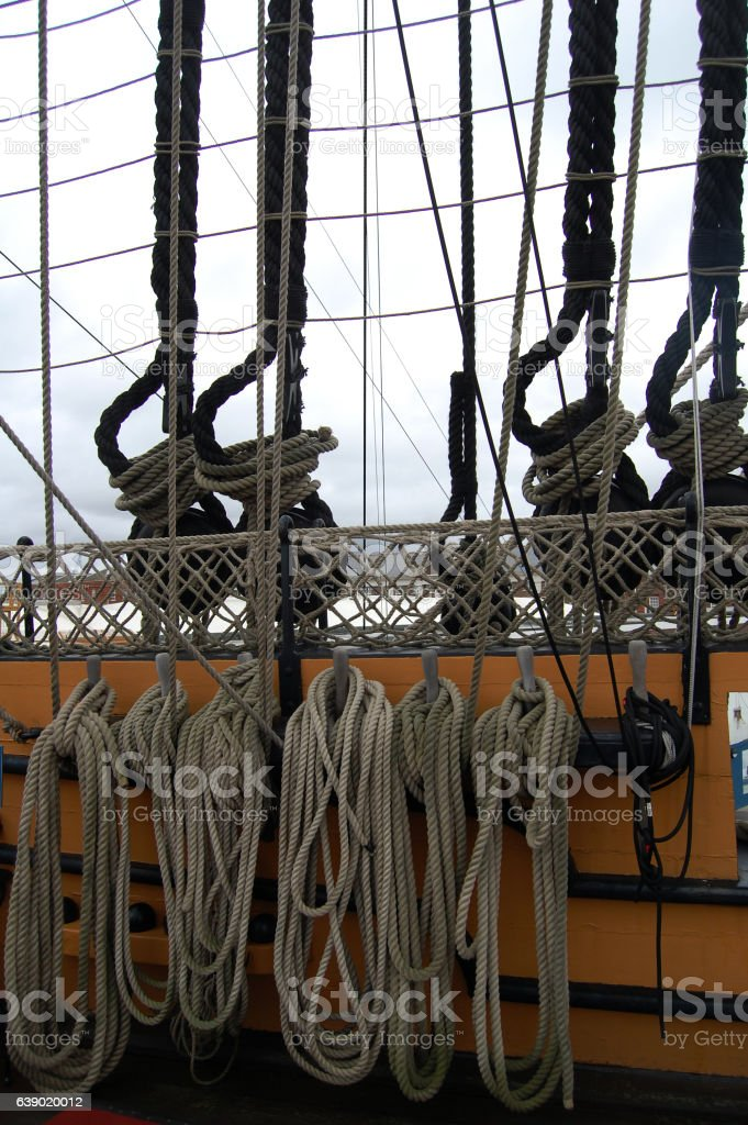 Ropes on the HMS Victory  in Portsmouth harbor, Hampshire, stock photo