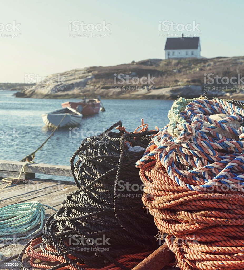 Ropes on the Pier royalty-free stock photo