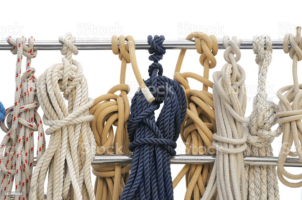 Ropes on the yacht royalty-free stock photo