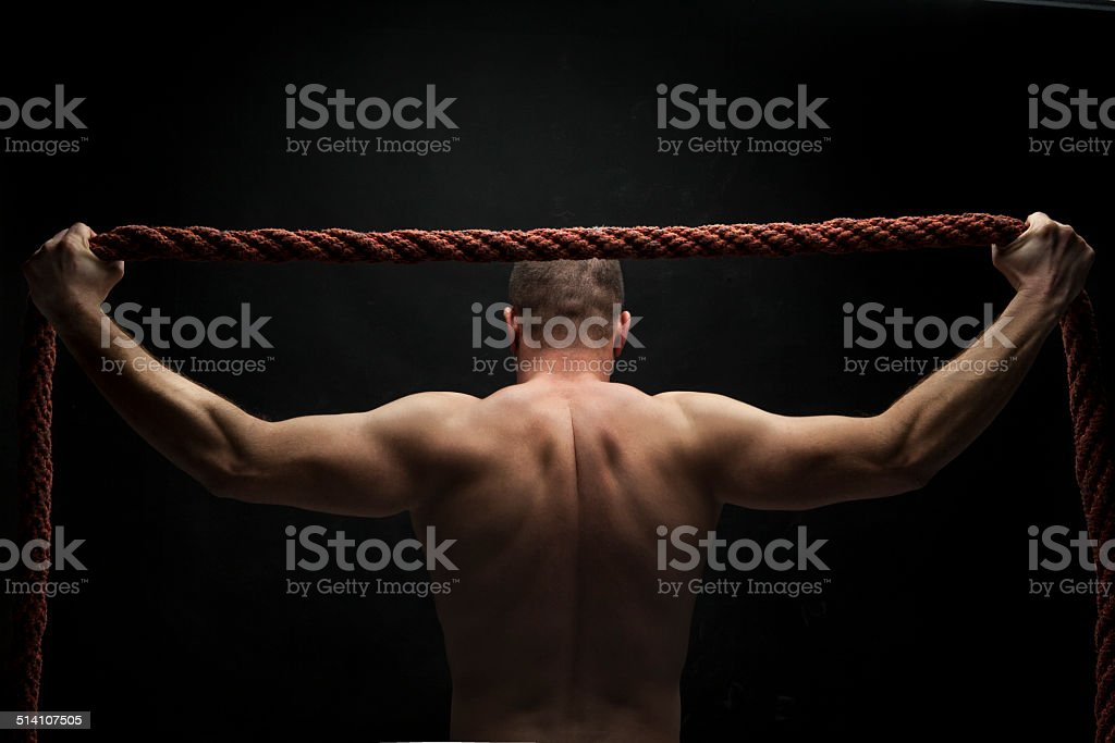 ropes cross - fit routine stock photo