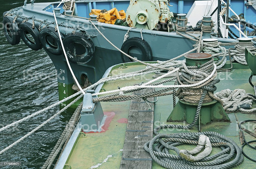 Ropes tied to cleats on canal dock in Osaka royalty-free stock photo