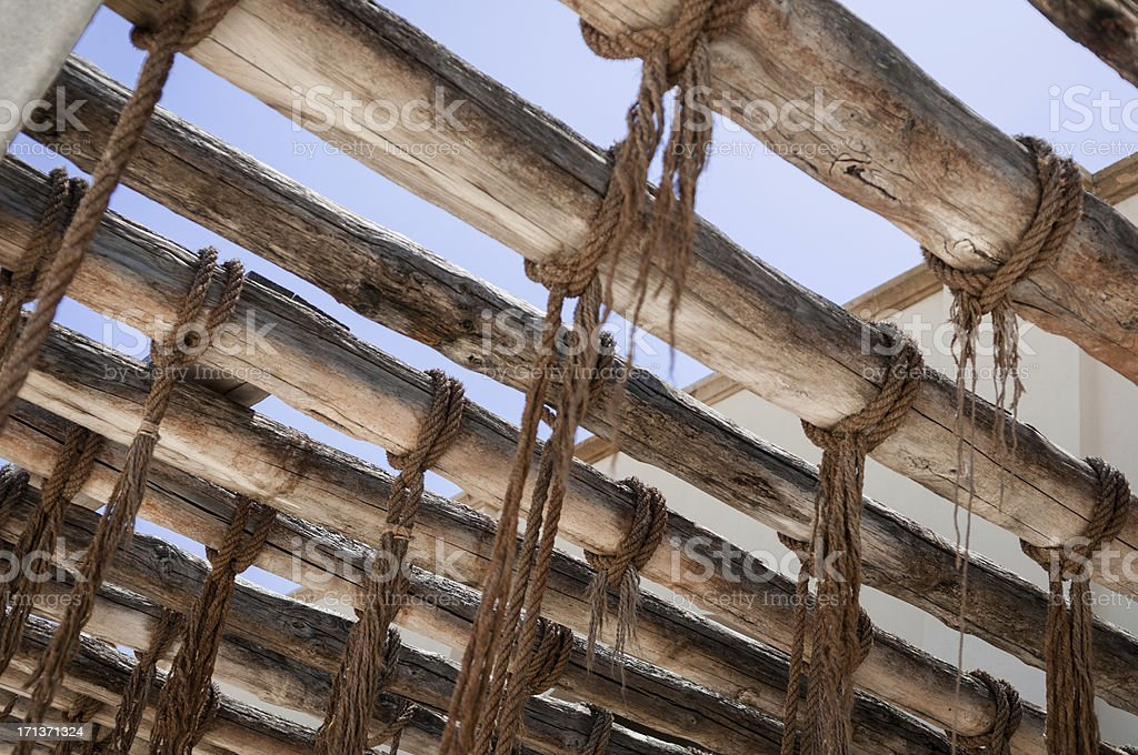 Ropes used to hang tuna fishes in a old tonnara royalty-free stock photo