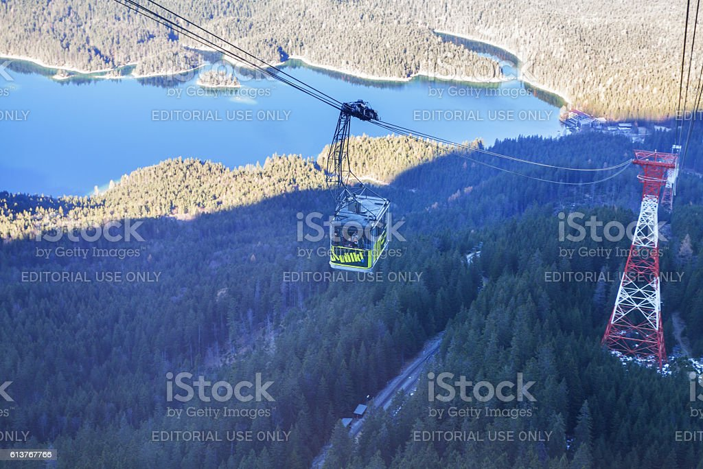 Ropeway and gondel on way to Zugsoitze stock photo