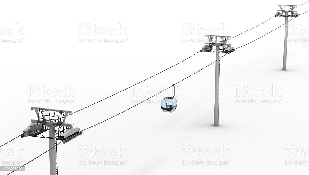 Ropeway and lift isolated on white background. stock photo