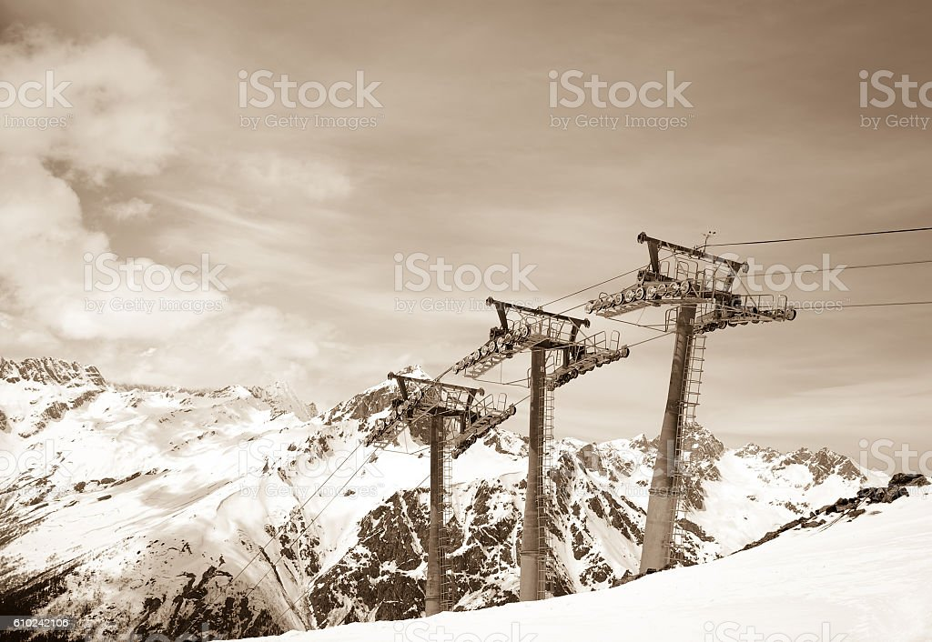 Ropeway at winter ski resort stock photo