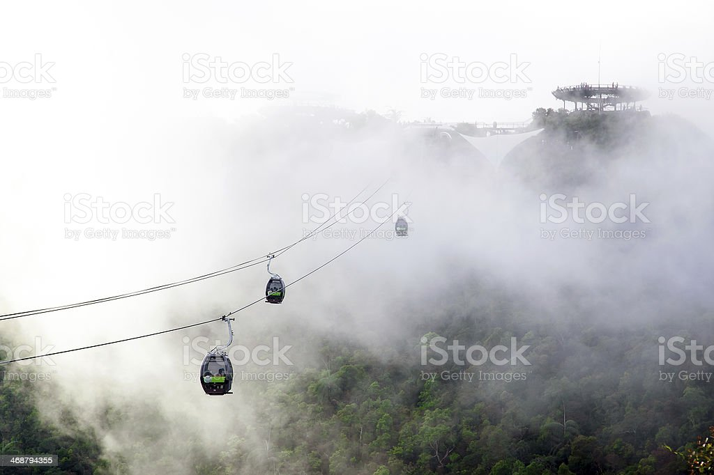 Ropeway in the fog royalty-free stock photo