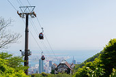 Ropeway on mountain or cable car
