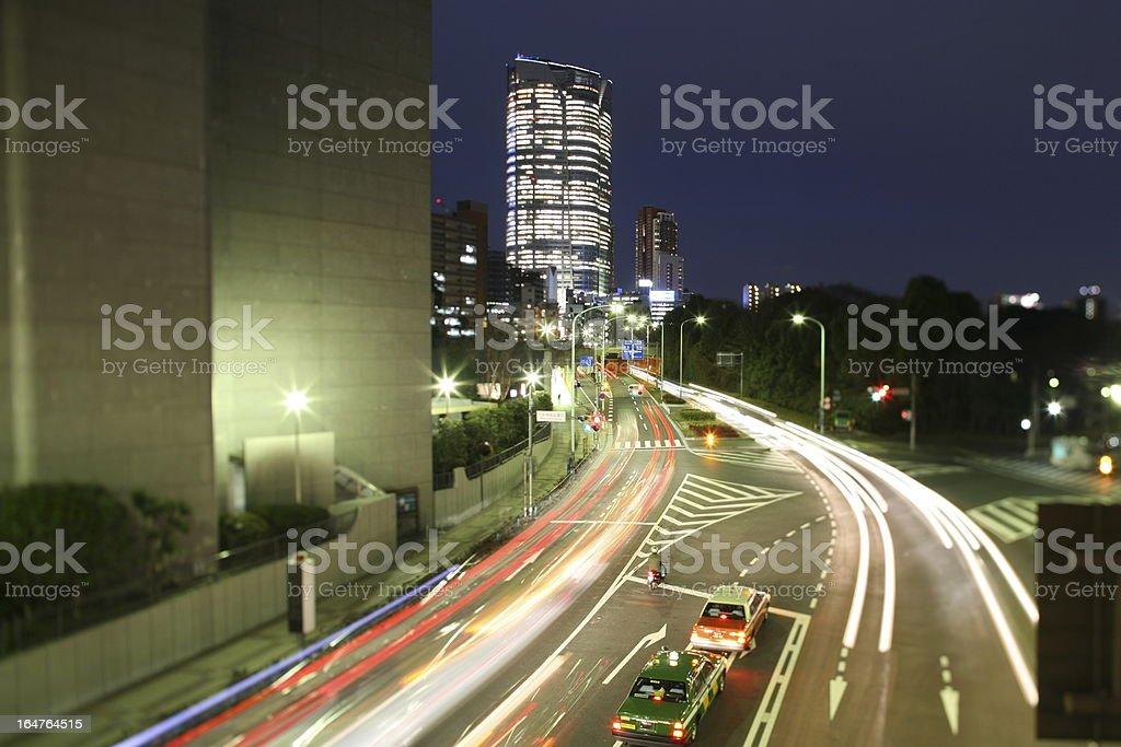 Roppongi Hills Mori Tower in Tokyo, Japan, by night stock photo