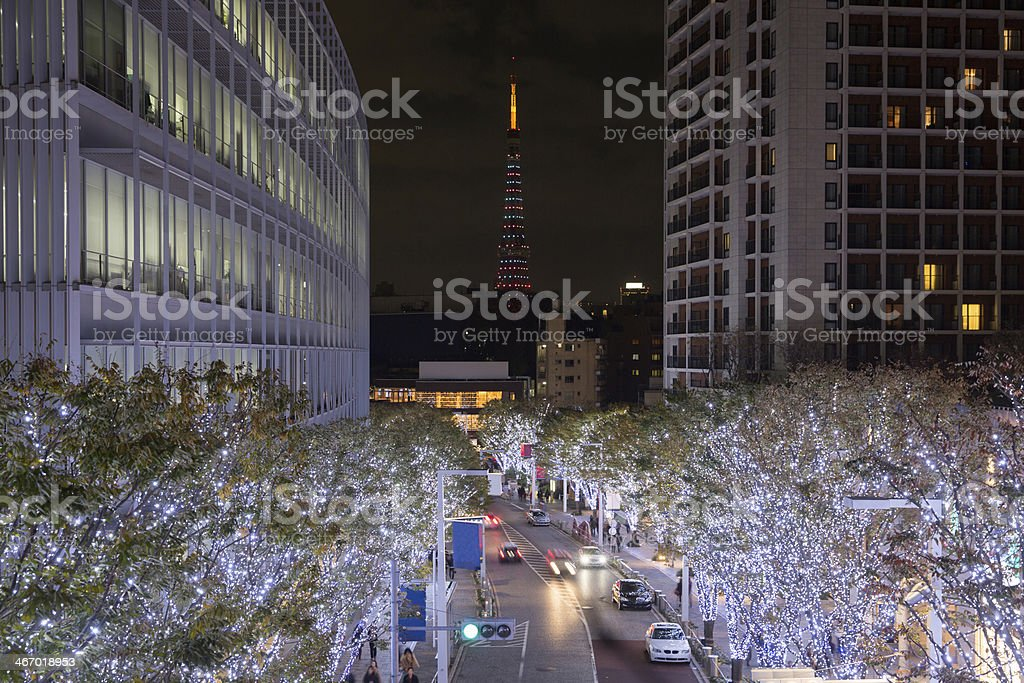 Roppongi with the landmark Tokyo Tower in Japan royalty-free stock photo
