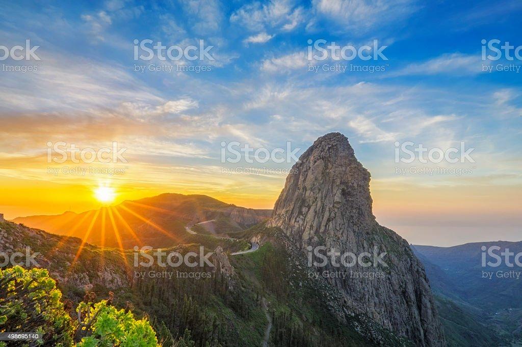 Roque Argando at sunrise - La Gomera island, Spain stock photo