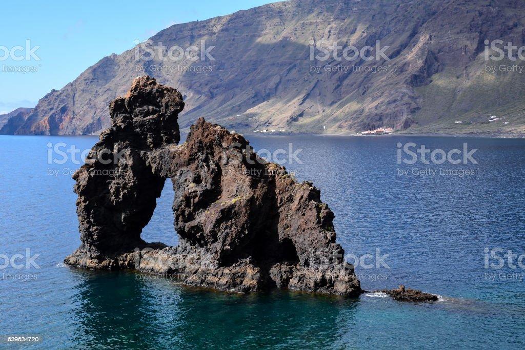 Roque de Bonanza beach in El Hierro stock photo