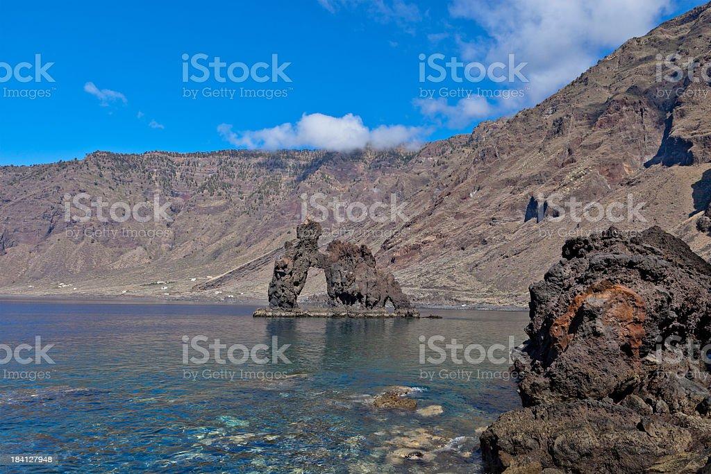Roque de la Bonanza, El Hierro stock photo
