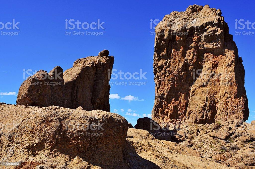 Roque Nublo monolith in Gran Canaria, Spain royalty-free stock photo