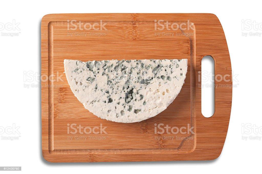 Roquefort cheese slice top view. stock photo