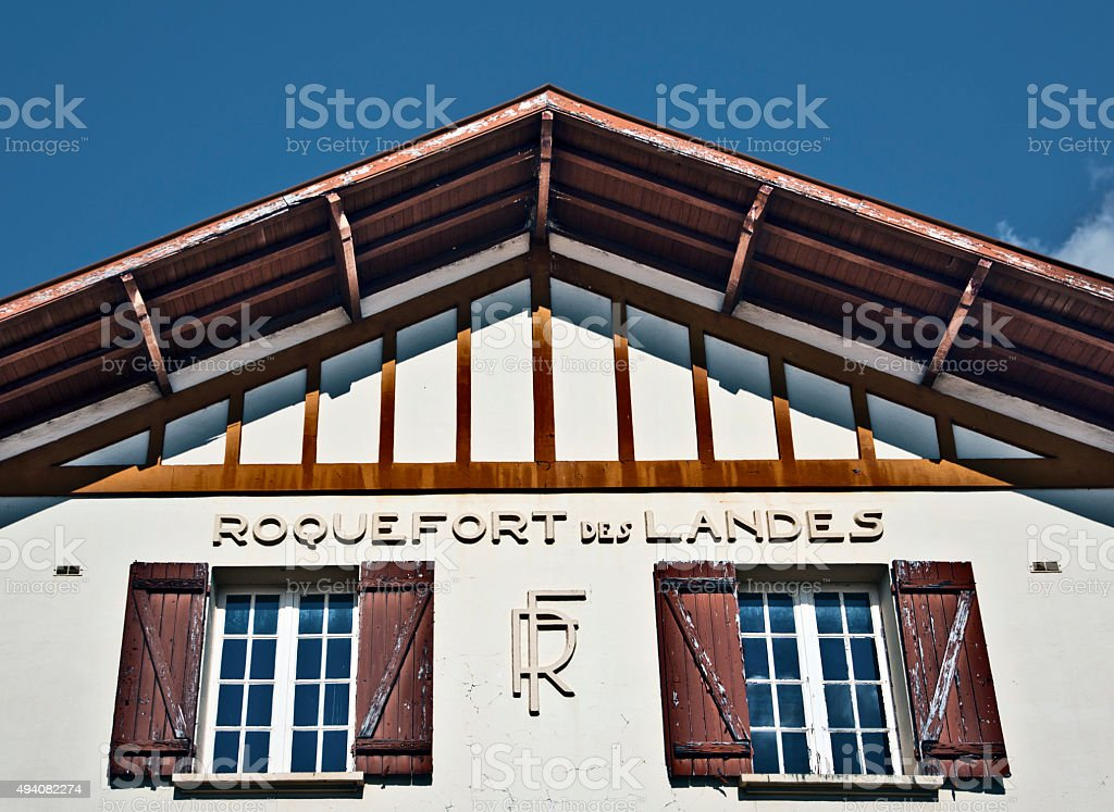 Roquefort des Landes of French Republic marked in traditional building stock photo
