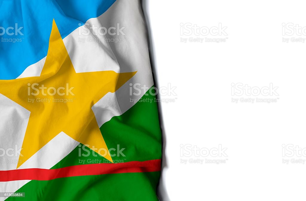 roraima wrinkled flag, space for text stock photo