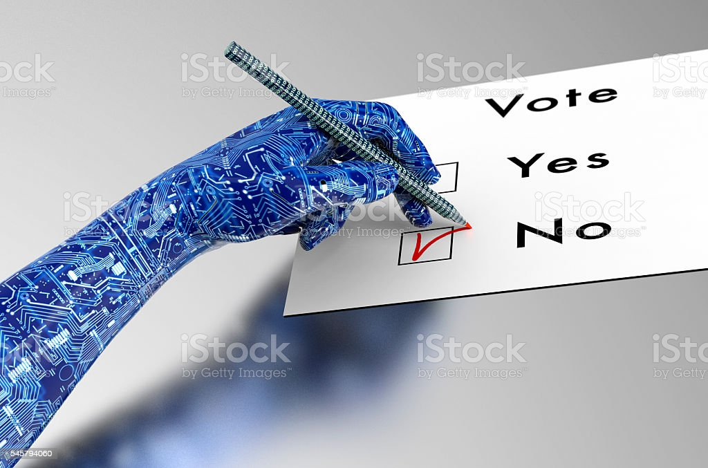 rorbot hand is voting with  digital pen stock photo