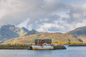 Rorbu and Boat in a Fishing Village of Lofoten, Norway