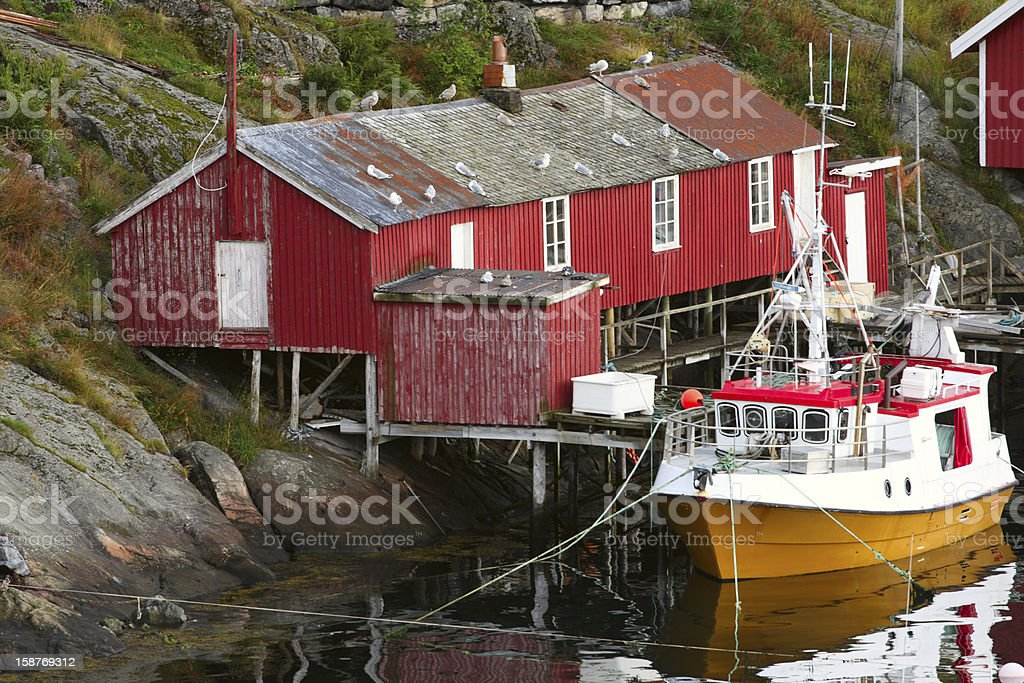 rorbu and the fishermans ship stock photo