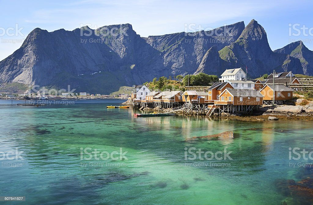 Rorbuer huts in Lofoten, Norway stock photo