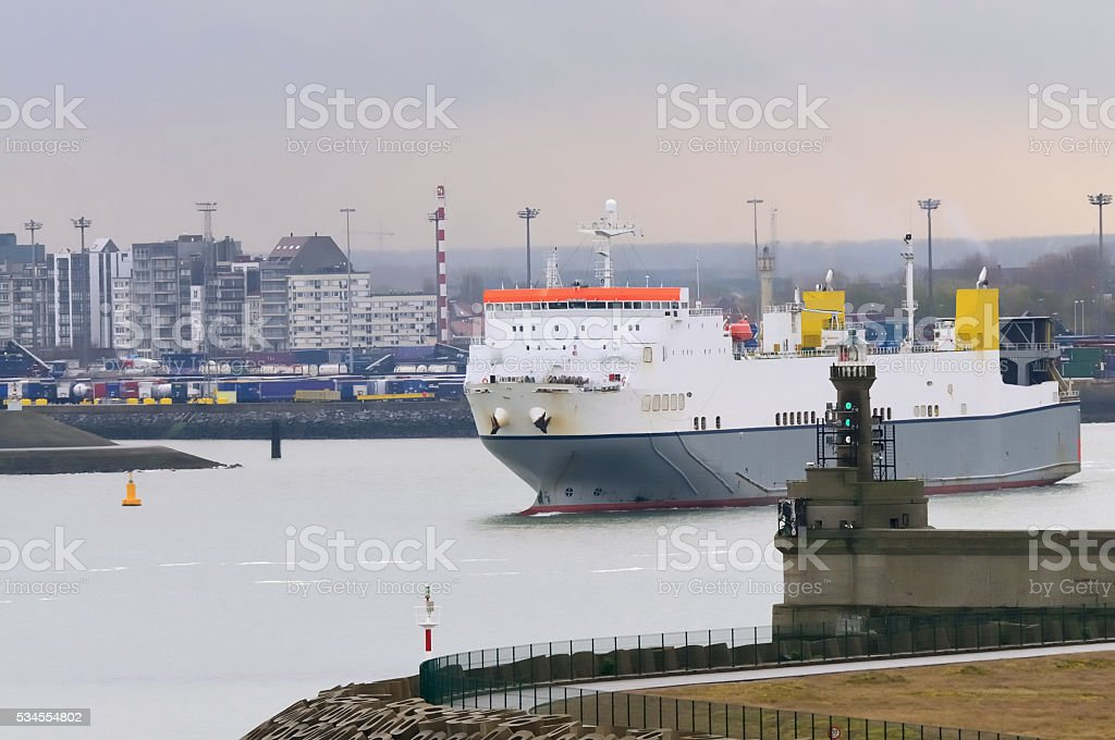 Ro-ro Ship Victorine Going Out to Sea stock photo