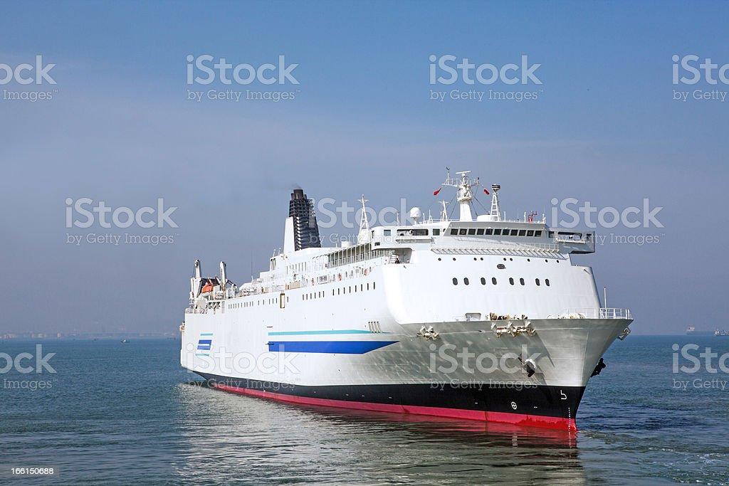Ro-ro ships moored stock photo
