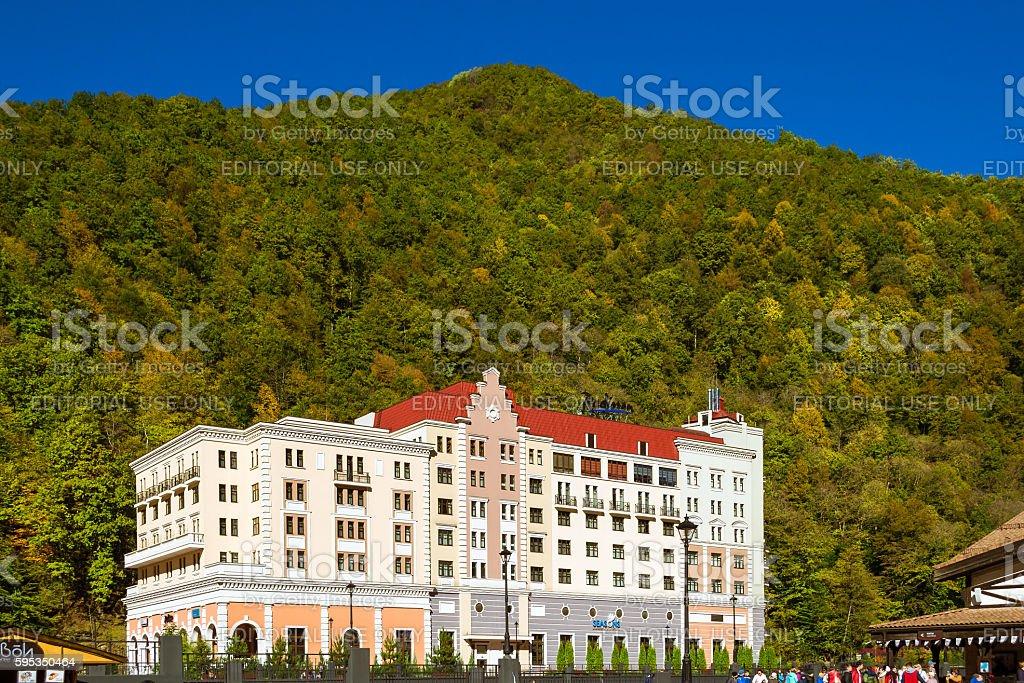 Rosa Khutor Alpine ski resort, Krasnaya Polyana, Sochi stock photo