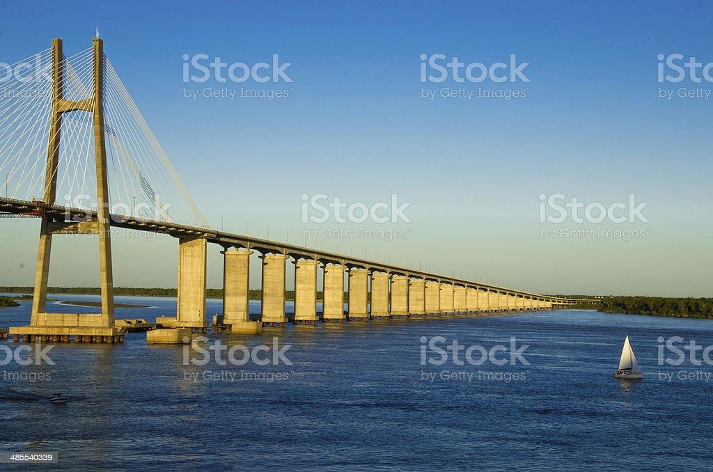 Rosario Victoria Bridge and Parana River stock photo