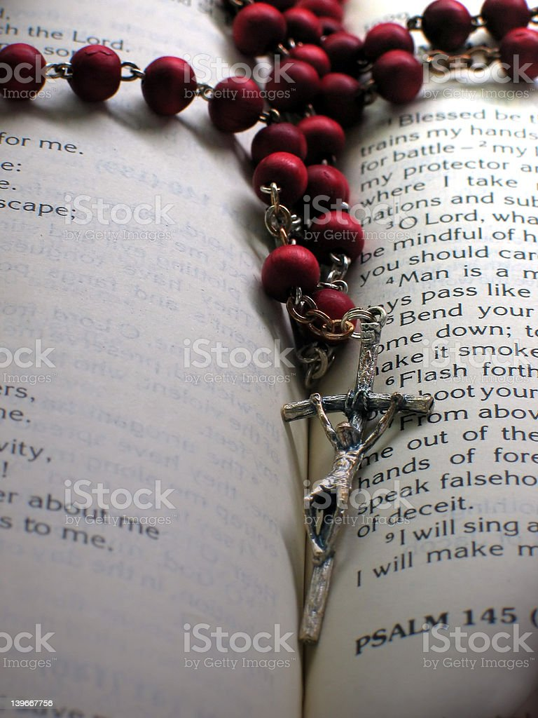 Rosary and Bible royalty-free stock photo
