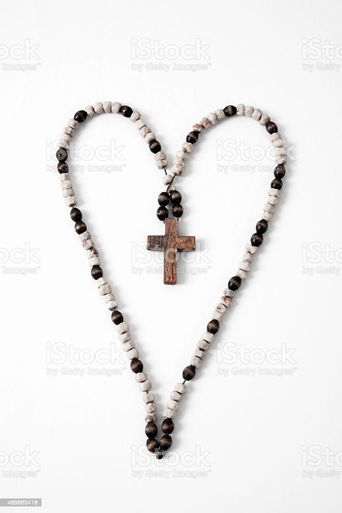 Rosary and cross stock photo