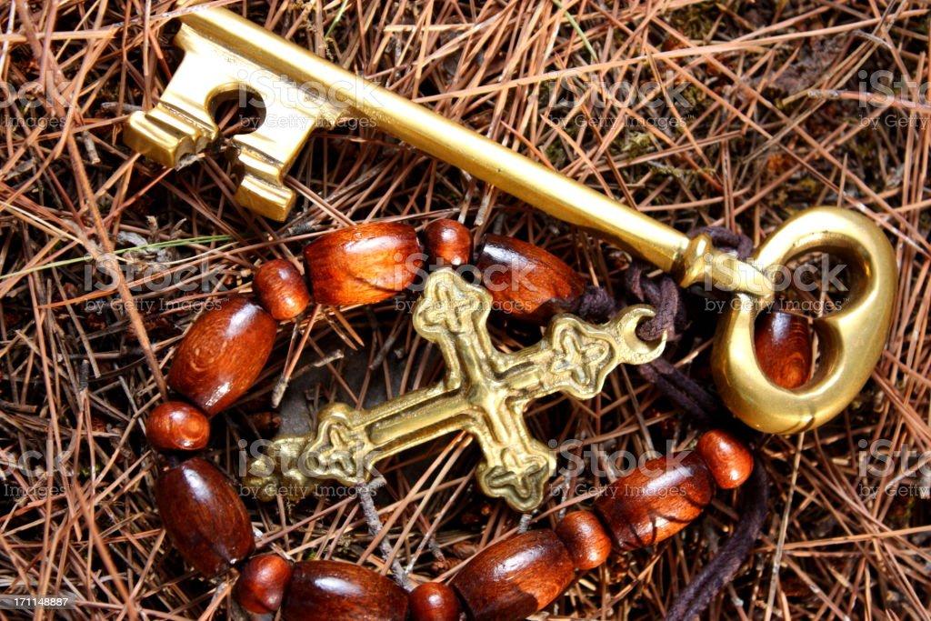 Rosary and key royalty-free stock photo