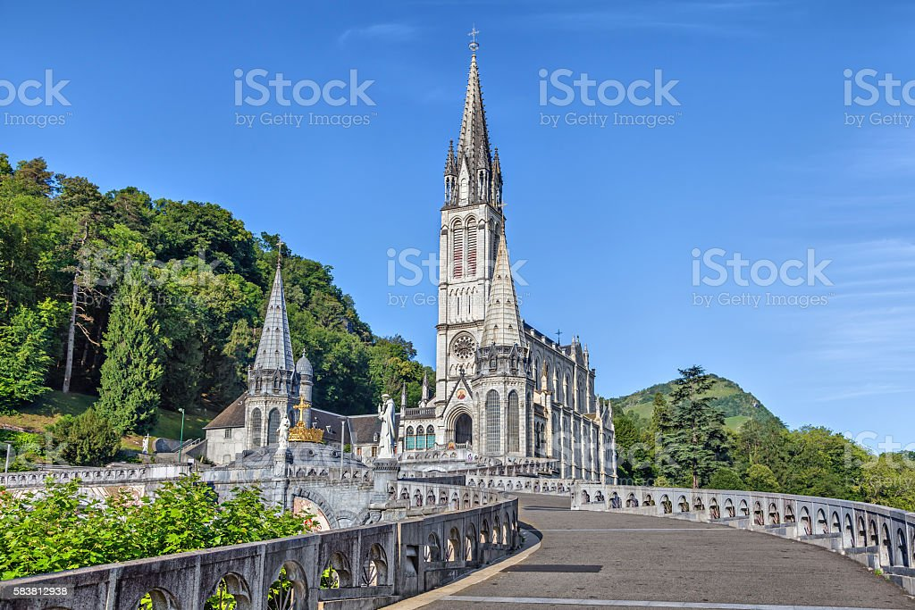 Rosary Basilica in Lourdes stock photo