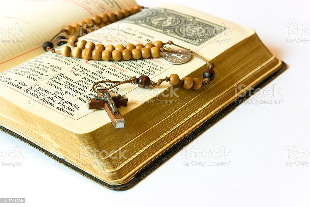 Rosary beads and breviary royalty-free stock photo