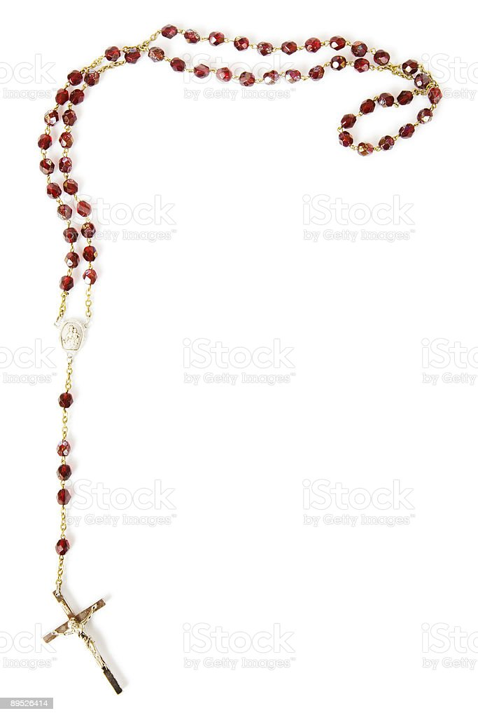 Rosary beads isolated on white stock photo