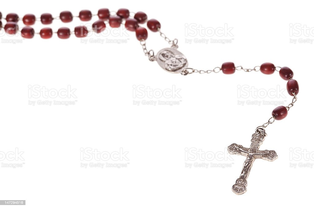 Rosary beads isolated over white stock photo