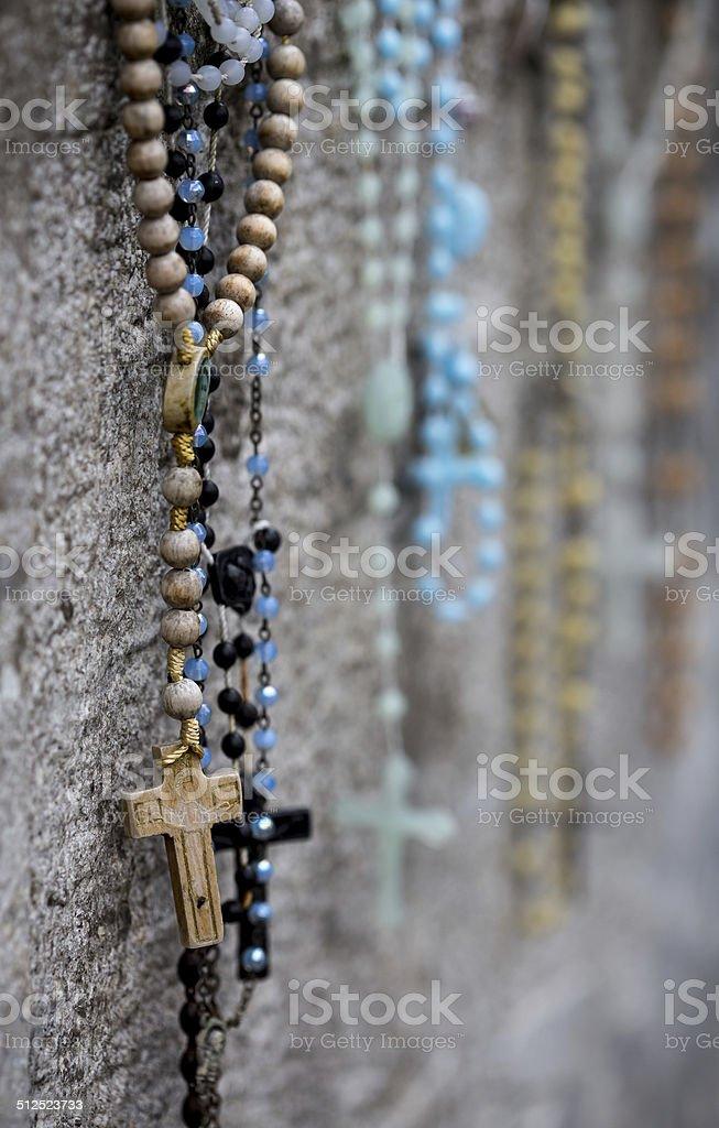 Rosary Beads on Irish gravestone royalty-free stock photo
