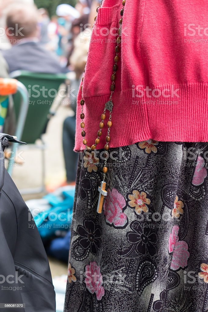 Rosary during the Pope's visit to Jasna Gora in Czestochowa stock photo